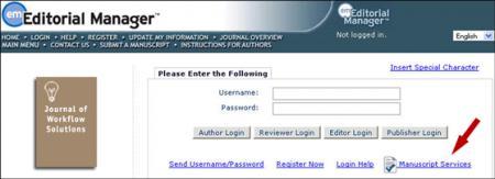"Manuscript Services"" option for convenient access to editing services"
