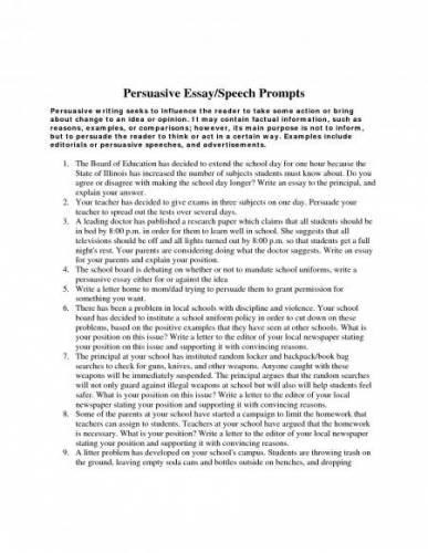 sample persuasive essays high school - Sample Persuasive Essay -