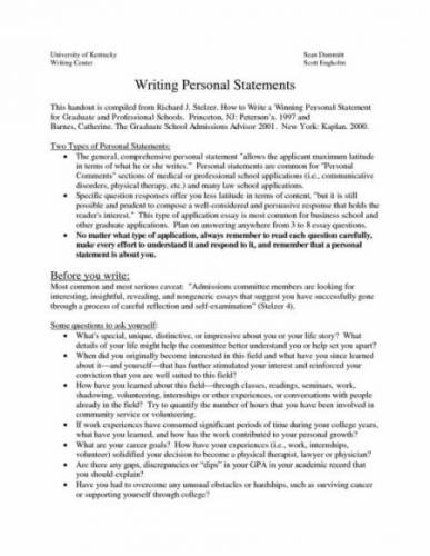 Writing the Personal Statement; The Personal Statement; Examples;