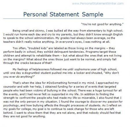 Help On Writing A Personal Statement For College