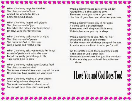 Christian Mother's Day 2015 Poems For Children - Free Quotes,