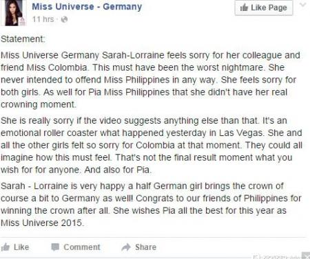 Miss Germany Apologizes To Miss Universe Pia Wurtzbach After ...