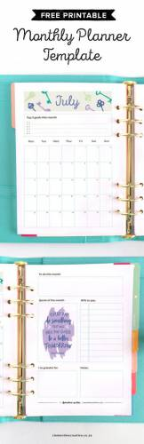 Get a new free printable monthly planner delivered to your