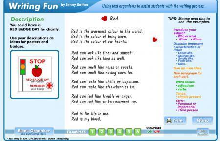 Descriptive writing examples and organizer